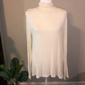 Free People Cream Lightweight Turtleneck Sweater